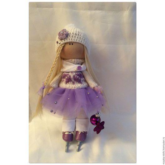 Куклы тыквоголовки ручной работы. Ярмарка Мастеров - ручная работа. Купить Интерьерная текстильная кукла большеножка Фигуристка. Handmade. тильда