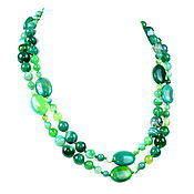 Работы для детей, handmade. Livemaster - original item Long large green beads natural agate. Handmade.