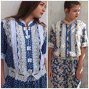 handmade. Livemaster - original item Boho-style jumpsuit with cotton decor. Handmade.
