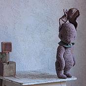 Куклы и игрушки ручной работы. Ярмарка Мастеров - ручная работа Зайка тедди большой сиреневый). Handmade.