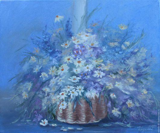 Картины цветов ручной работы. Ярмарка Мастеров - ручная работа. Купить картина маслом в стиле импрессионизм,белые и голубые цветы в корзине н. Handmade.