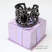 handmade. Livemaster - original item Bracelet beaded with agate Starry night black silver. Handmade.