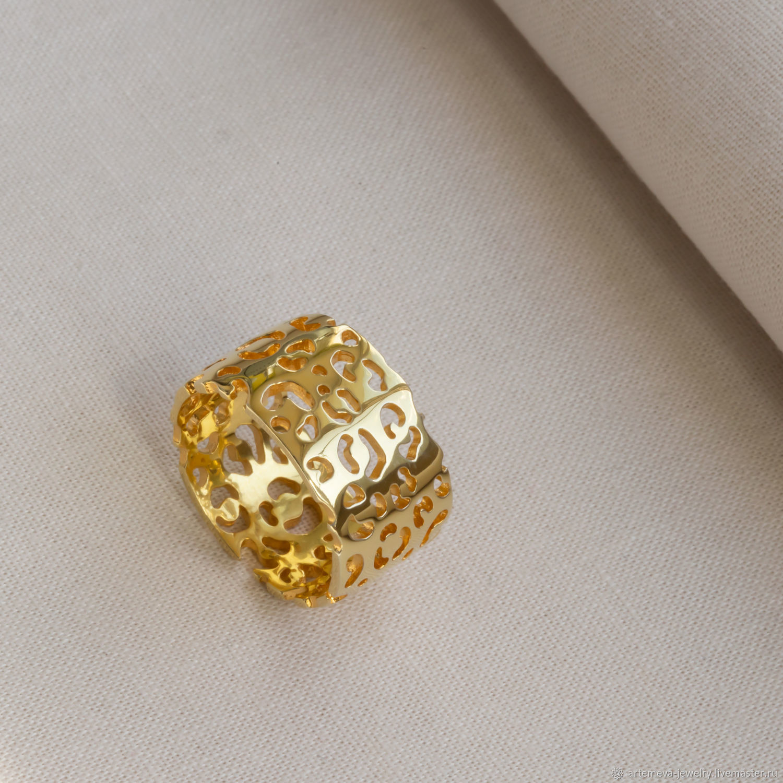 Позолоченное кольцо Леопард, Кольца, Москва,  Фото №1