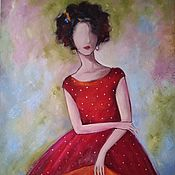 Картины и панно handmade. Livemaster - original item Oil painting of a girl in a red dress. Handmade.