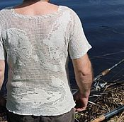 "Одежда ручной работы. Ярмарка Мастеров - ручная работа майка мужская ""супер-рыбак"", авторская работа. Handmade."