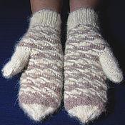 Аксессуары handmade. Livemaster - original item Women`s knitted mittens White coffee. Handmade.