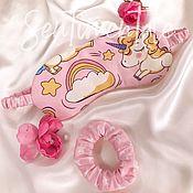 Аксессуары ручной работы. Ярмарка Мастеров - ручная работа Маска для сна и резинка для волос в комплекте. Handmade.