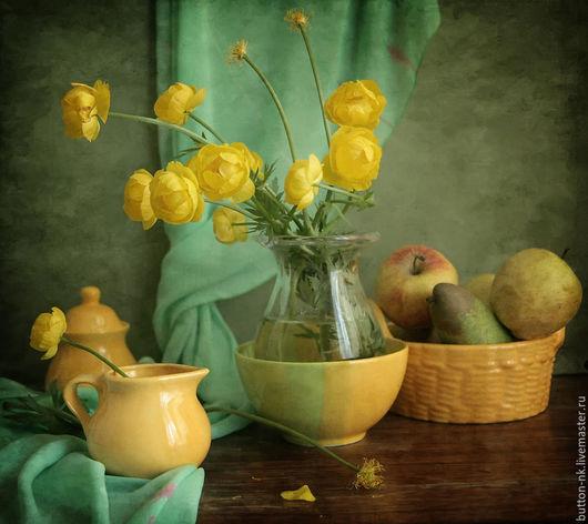 Фотокартины ручной работы. Ярмарка Мастеров - ручная работа. Купить натюрморт лютики цветочки с желтой посудой. Handmade. Желтый, цветы
