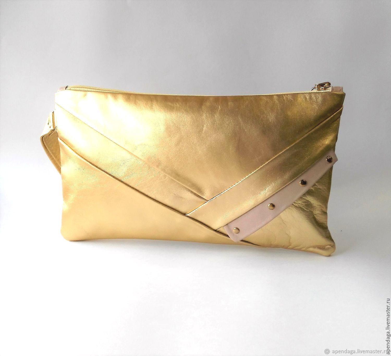 Golden leather clutch 'Doro', Golden leather handbag, Clutches, Ulyanovsk,  Фото №1