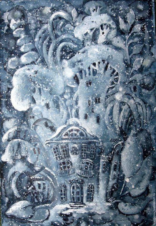 Фантазийные сюжеты ручной работы. Ярмарка Мастеров - ручная работа. Купить Зимний сон. Handmade. Комбинированный, ночь, сон