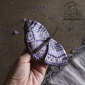 Украшения handmade. Livemaster - original item Brooch leather Butterfly Grey Pansy. Handmade.