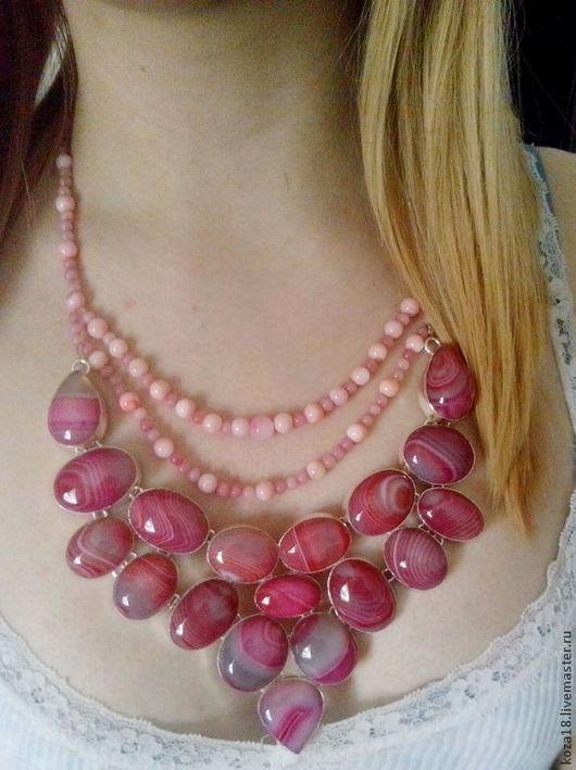 Колье, бусы ручной работы. Ярмарка Мастеров - ручная работа. Купить Ожерелье с ботсванским агатом. Handmade. Ожерелье из камней