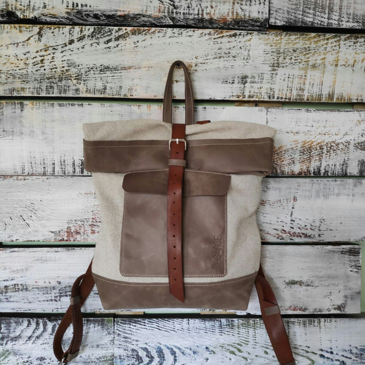 Backpacks handmade. Livemaster - handmade. Buy Linen backpack with leather trim.Bag, shoulder bag, linen backpack