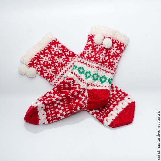 """Варежки, митенки, перчатки ручной работы. Ярмарка Мастеров - ручная работа. Купить Носки женские из шерсти """"Новогодние снежинки"""" 2. Handmade."""