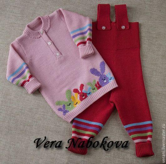 Одежда для девочек, ручной работы. Ярмарка Мастеров - ручная работа. Купить Комплект детский из шерсти Разноцветные зайчики. Handmade.