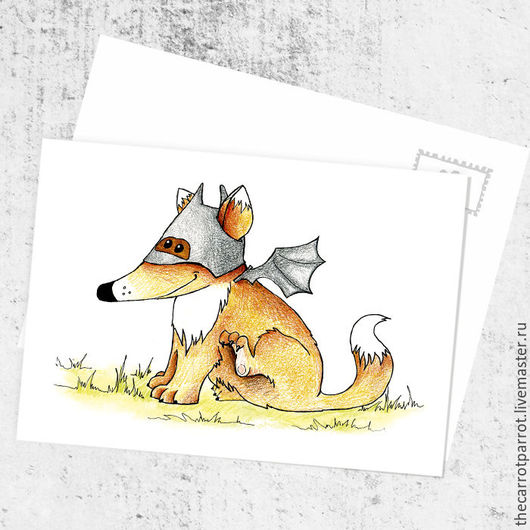 Открытки на все случаи жизни ручной работы. Ярмарка Мастеров - ручная работа. Купить Почтовая открытка «Бэт..лис?!». Handmade. Оранжевый