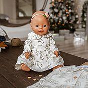 handmade. Livemaster - original item Doll clothes, white dress for dolls made of natural linen. Handmade.