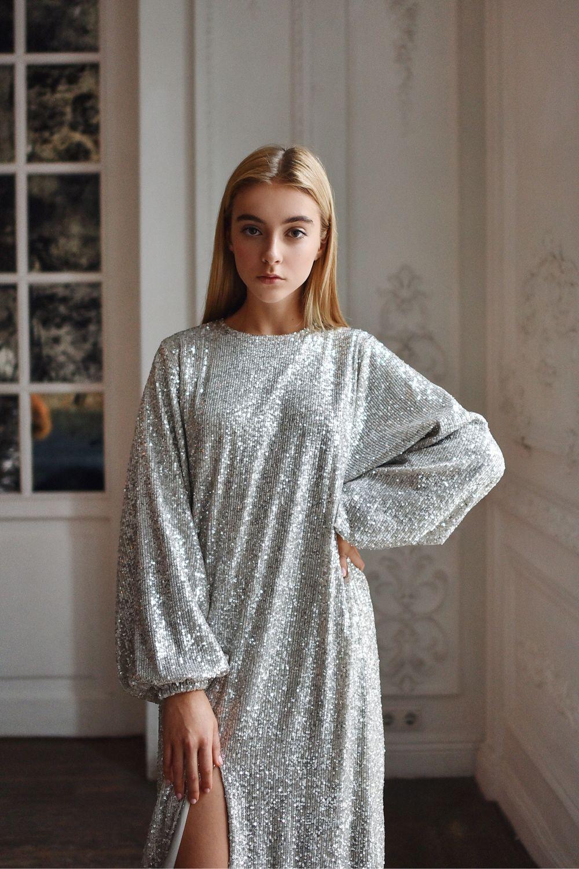Платье с пайетками серебристого цвета, Платья, Москва,  Фото №1