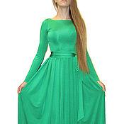 Одежда ручной работы. Ярмарка Мастеров - ручная работа Изумрудное длинное платье из масла Кристалл. Handmade.