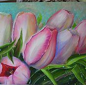 Картины и панно ручной работы. Ярмарка Мастеров - ручная работа Картина маслом Розовые тюльпаны. Handmade.