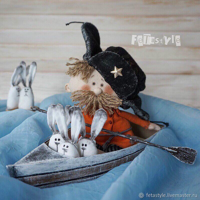 Mazay and hares Doll texstile, Miniature figurines, Velikiy Novgorod,  Фото №1