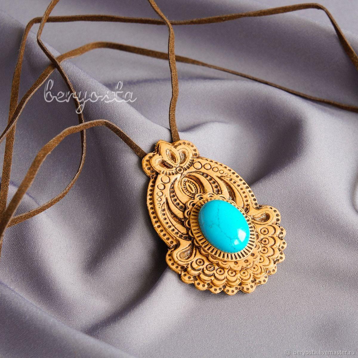 Pendant made of birch bark 'Tulip' with turquoise. pendant made of wood, Pendants, Novosibirsk,  Фото №1