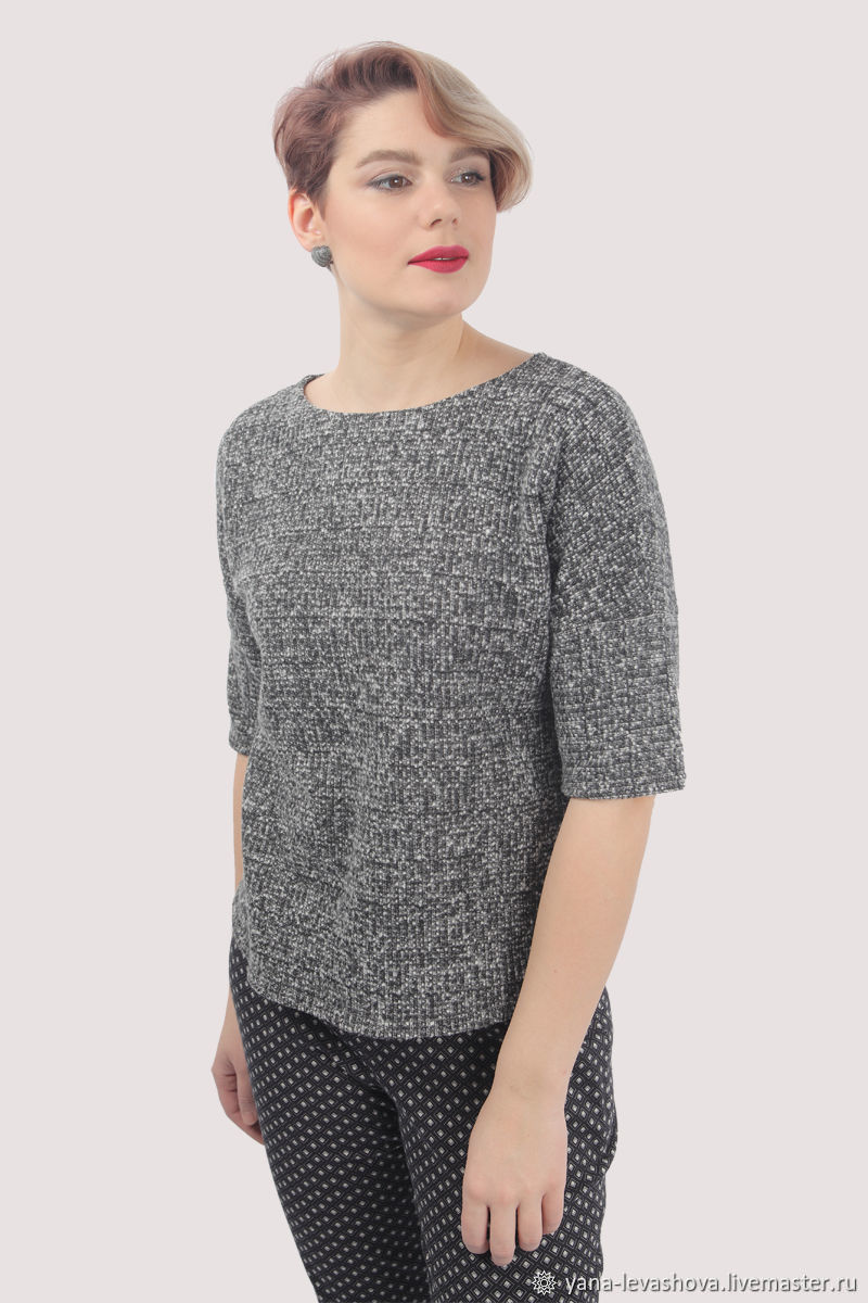 Knitted jumper grey cotton boucle, Jumpers, Moscow,  Фото №1