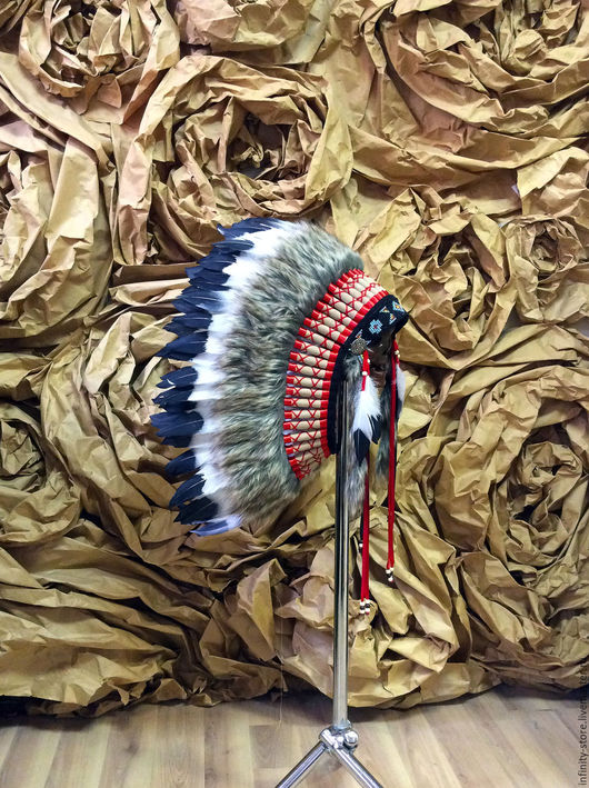 Этническая одежда ручной работы. Ярмарка Мастеров - ручная работа. Купить Индейский головной убор - Душа Воина. Handmade. Комбинированный