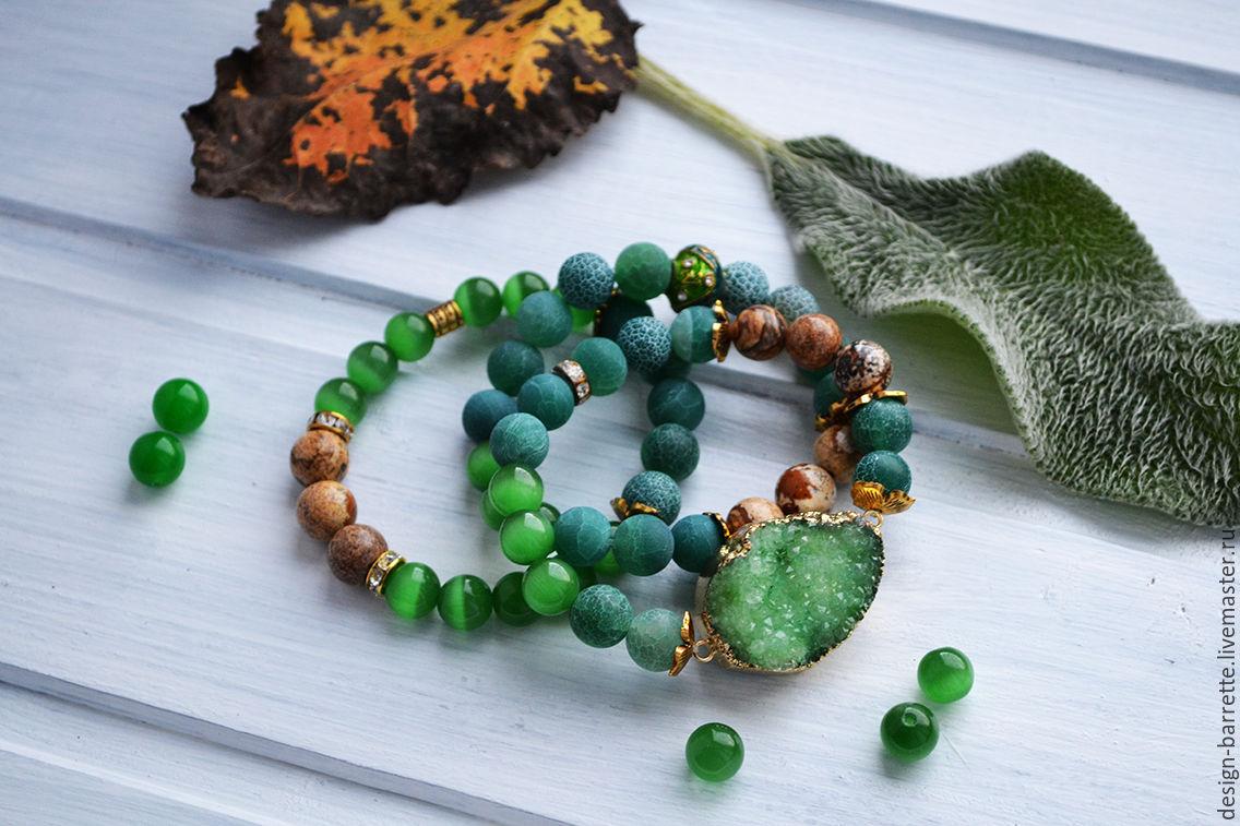 """Браслеты из камней с друзой """"Сосновый лес"""". Зеленый, яшма, агат"""