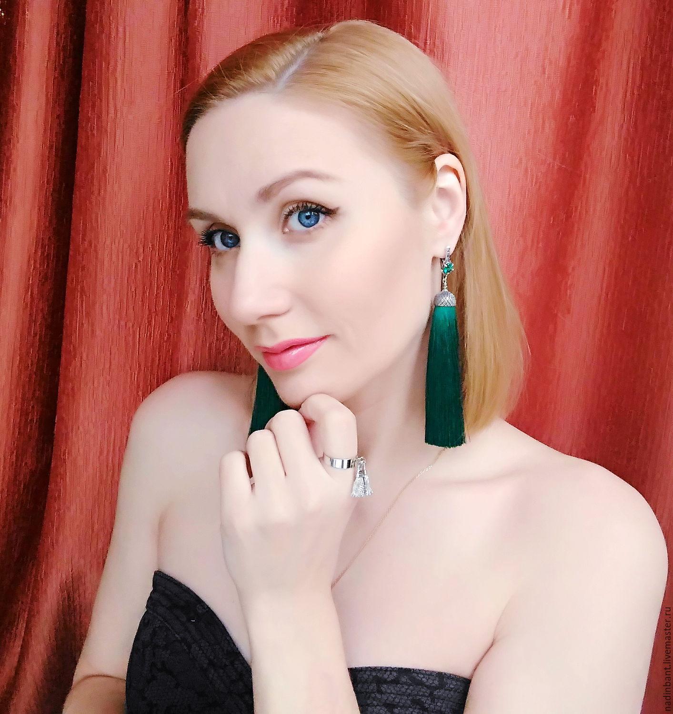 Earring of the brush 'Imperio' silver, dark emerald silk, Tassel earrings, St. Petersburg,  Фото №1