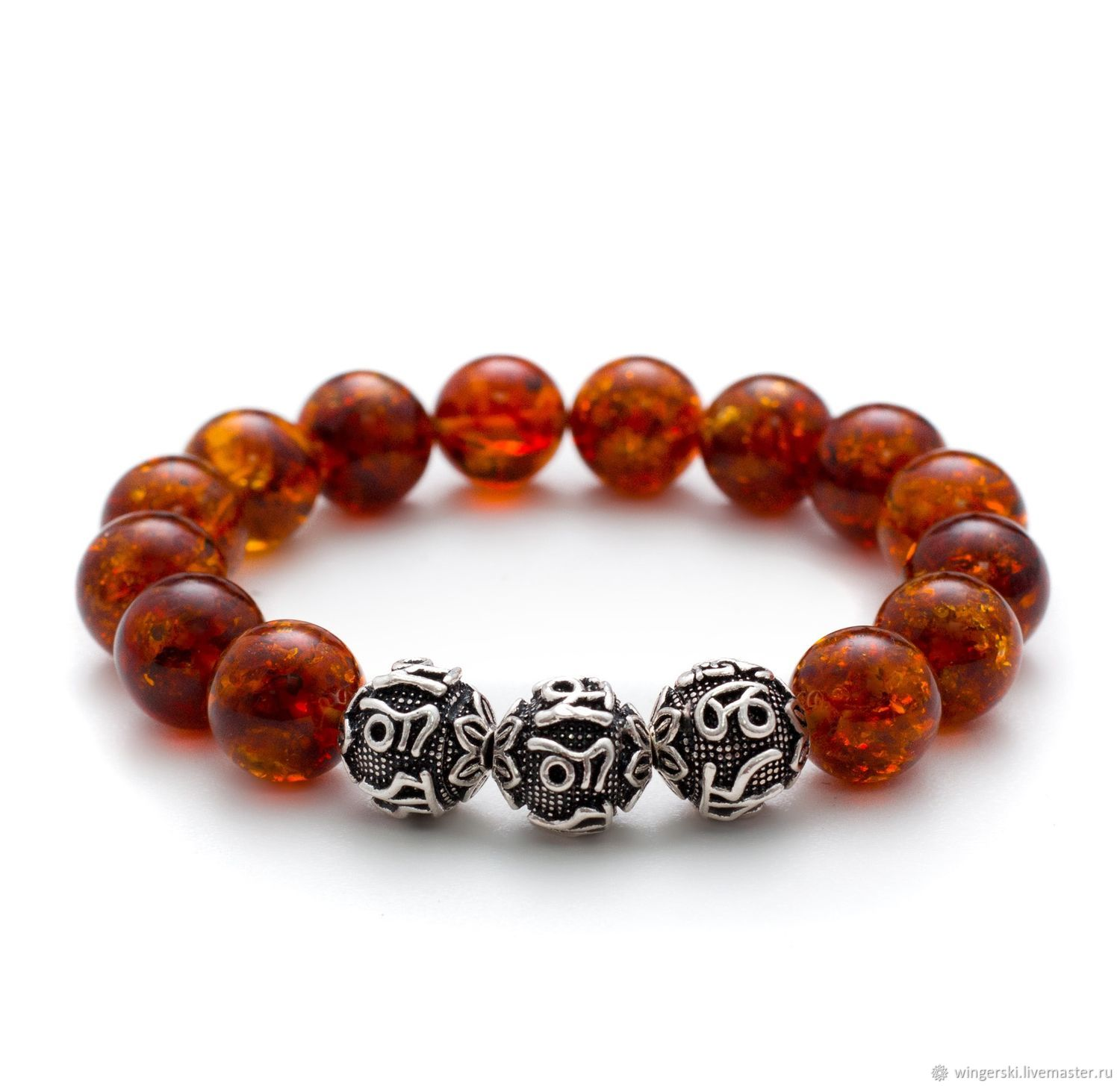 Bracelet Secret symbol of Baltic amber with silver charms, Bead bracelet, Moscow,  Фото №1