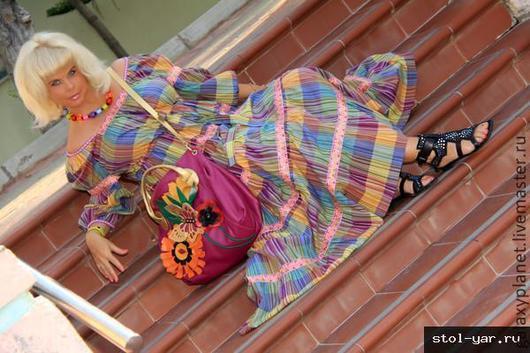 """Платья ручной работы. Ярмарка Мастеров - ручная работа. Купить Платье """"разноцветная клетка"""" из поплина с жаккардовой тесьмой этно. Handmade."""