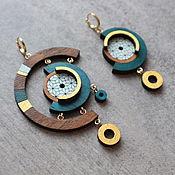 Украшения handmade. Livemaster - original item Asymmetric earrings made of wood with gold plating. Handmade.