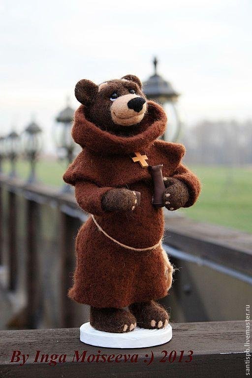 Игрушки животные, ручной работы. Ярмарка Мастеров - ручная работа. Купить Медведь войлочный, Брат Бенедикт. Handmade. Медведь, фелтинг