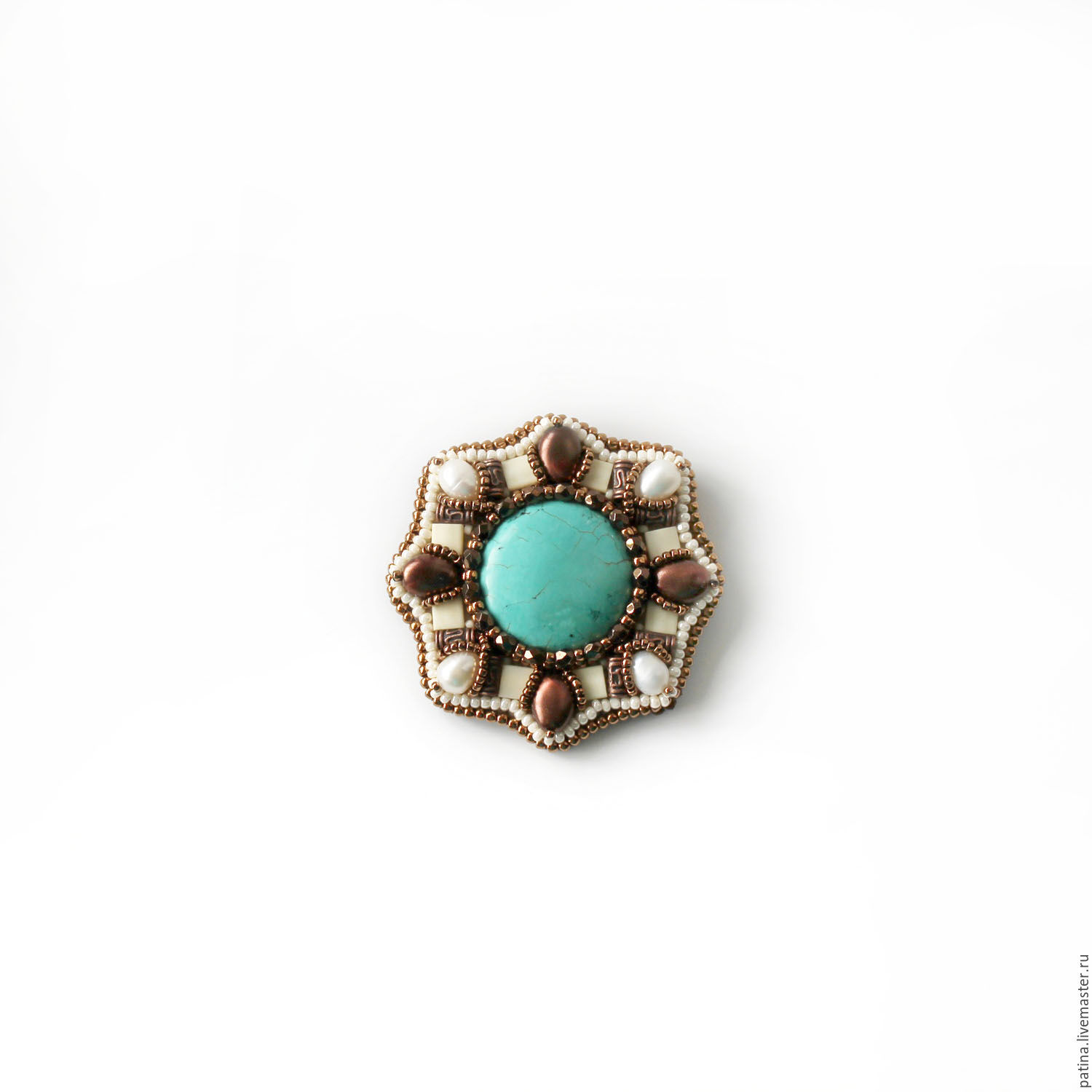 Handmade jewelry. Brooch order of the `Turquoise and chocolate`. Ksenia Patina. Fair Masters.