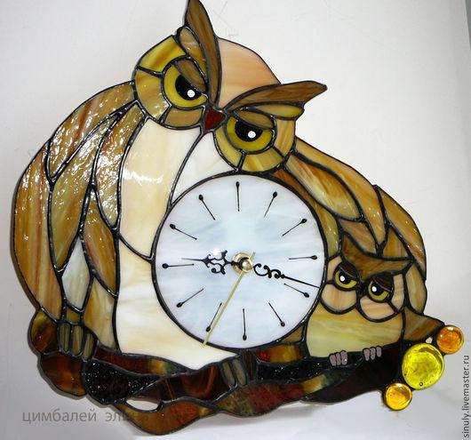 """Часы для дома ручной работы. Ярмарка Мастеров - ручная работа. Купить Витражные часы """"Совушка"""". Handmade. Серый, для дома и интерьера"""