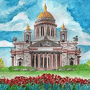 Картины и панно handmade. Livemaster - original item St. Isaac`s Cathedral.( Drawing with watercolor pencils). Handmade.