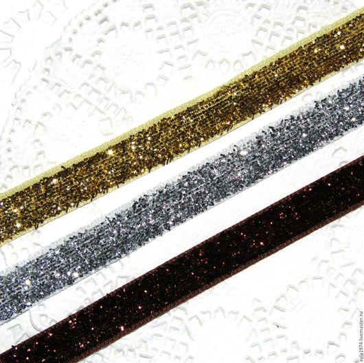 Шитье ручной работы. Ярмарка Мастеров - ручная работа. Купить Лента бархатная,металлик 10 мм. Handmade. Золотой, коричневый