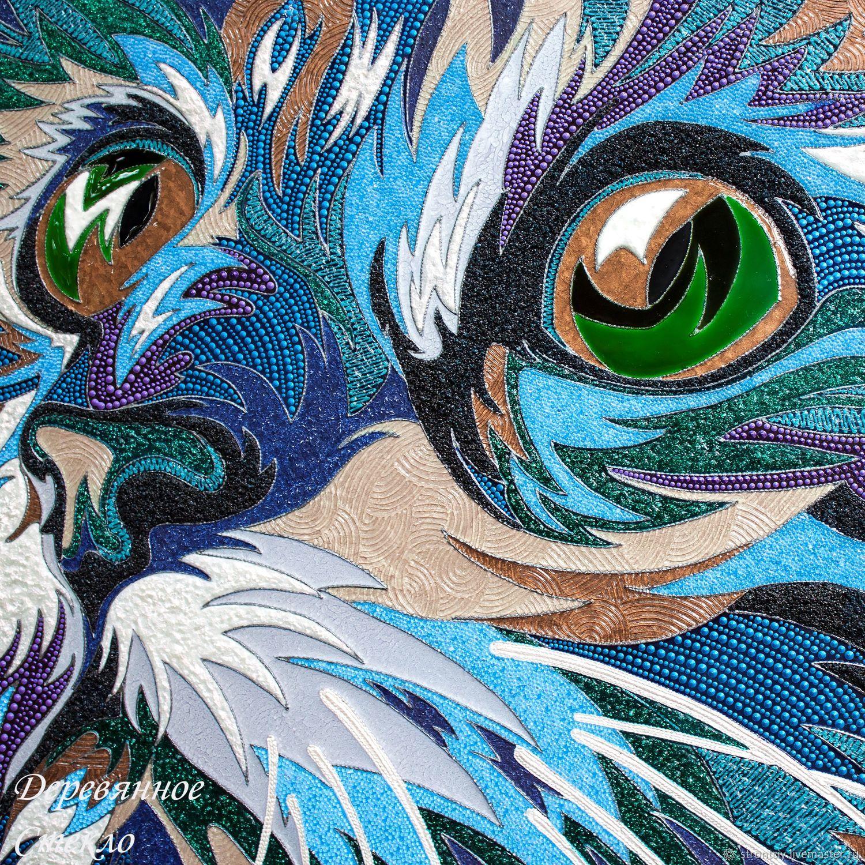 `Радужный Кот` объемное витражное панно, картина на стекле (по мотивам Ваю Ромдони)