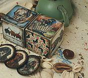 Подарки к праздникам handmade. Livemaster - original item Two dachshunds, a set of wooden blocks (magnets, too). Handmade.