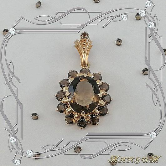 Suspension 'Big oval' gold 585, Rauch-Topaz, Pendants, St. Petersburg,  Фото №1
