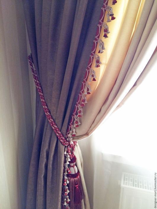 Текстиль, ковры ручной работы. Ярмарка Мастеров - ручная работа. Купить Шторы для гостиной с яркой отделкой. Handmade. Коричневый, бархат