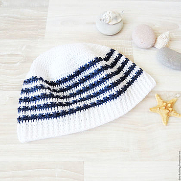 Clothing handmade. Livemaster - original item children`s knitted Panama hat for boy white, blue. Handmade.