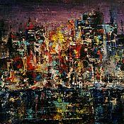 """Картины и панно ручной работы. Ярмарка Мастеров - ручная работа Картина маслом """"Ночной город"""". Handmade."""