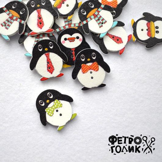 """Шитье ручной работы. Ярмарка Мастеров - ручная работа. Купить Пуговица деревянная """"Пингвин"""" (1шт). Handmade. Комбинированный, пуговицы, пингвины"""