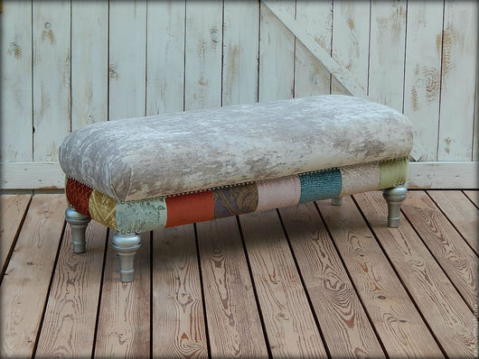 Мебель ручной работы. Ярмарка Мастеров - ручная работа. Купить пуф №2. Handmade. Серебряный, Мебель, поролон