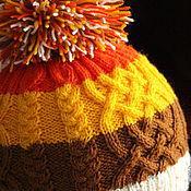 Работы для детей, ручной работы. Ярмарка Мастеров - ручная работа Вязаная шапка полосатая с косами. Handmade.