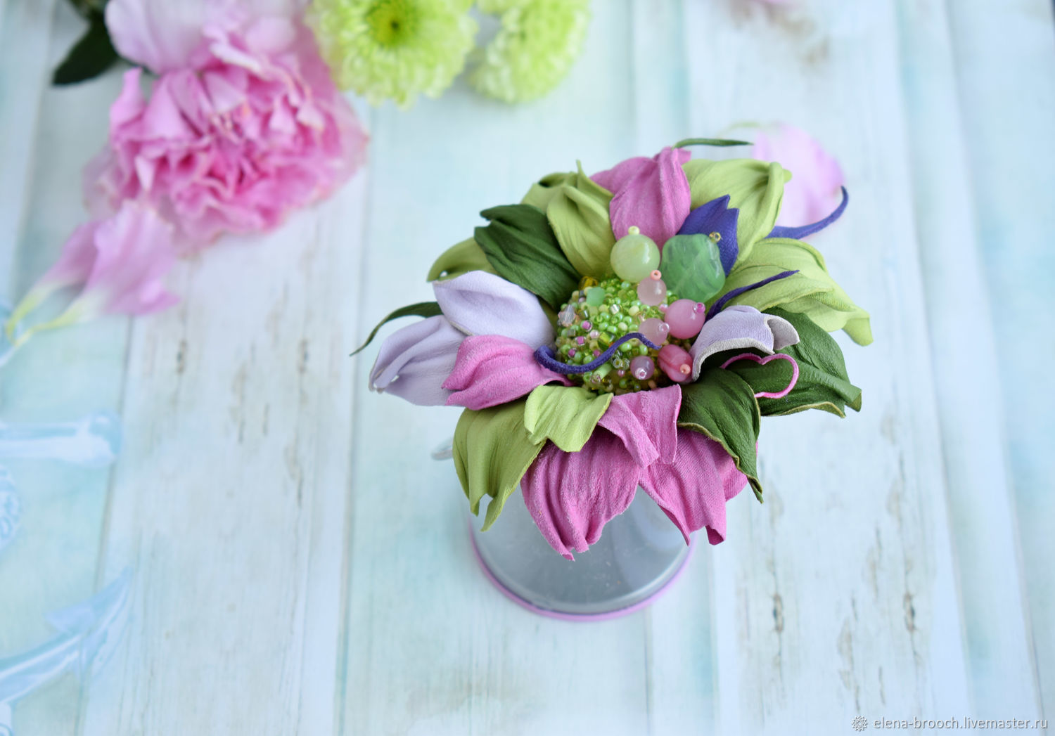 Brooch leather Spring bouquet – shop online on Livemaster with ...