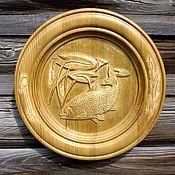 Картины и панно handmade. Livemaster - original item The plate is carved.. Handmade.