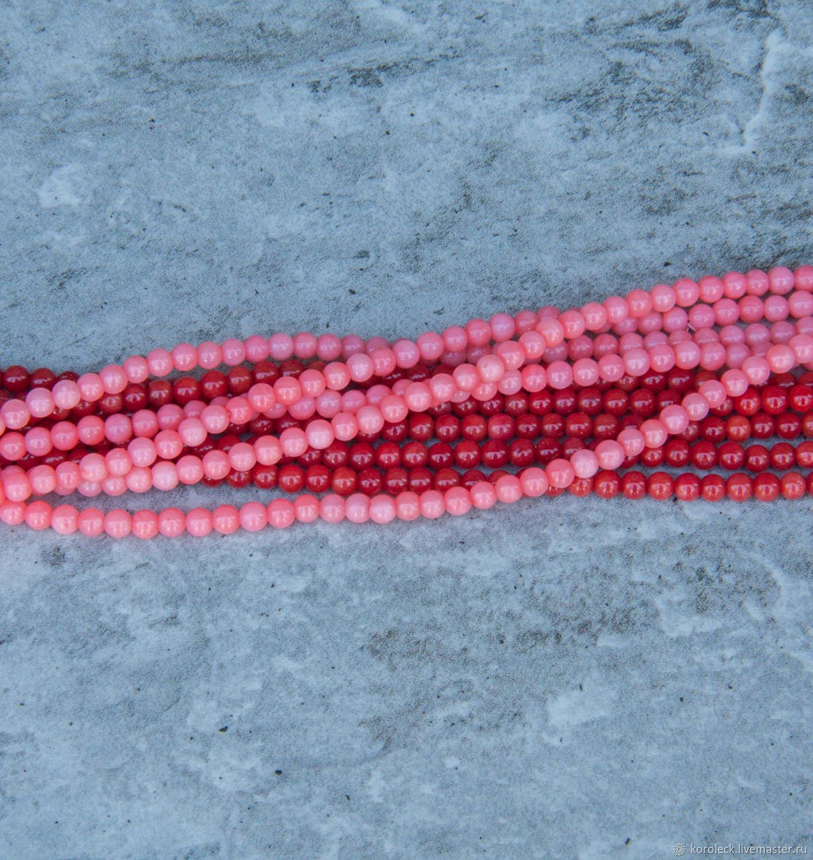 Бусины-шарики 3 мм из коралла красные и розовые, нить, Бусины, Москва,  Фото №1